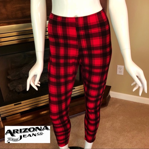 f5dea07bcfacd0 Arizona Jean Company Pants - EUC - Arizona Jean Co - black & red plaid  leggings